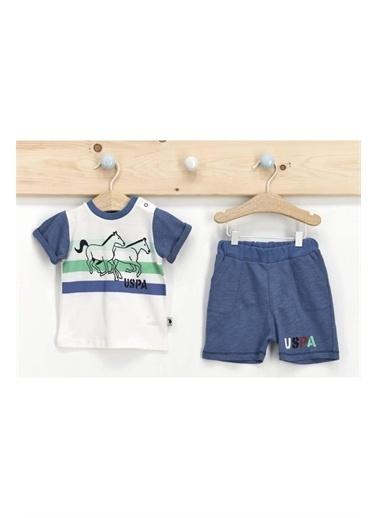 U.S. Polo Assn. Lisanslı Krem Erkek Bebek T-Shirt Takım Krem
